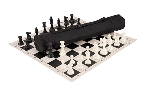 The House of Staunton Quiver Chess Set Combination - Triple Weighted - Black Bag/Board - Chess Set Bag