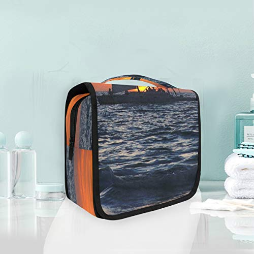 Toiletry Wash Bag Cosmetic Makeup Travel Toiletry Bag with Sailboat Gulf Of Mexico for Women