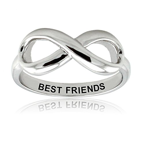West Coast Jewelry Sterling Silver Best Friends Infinity Ring - Size 7 (Infinity Ring Engraved Best Friends)