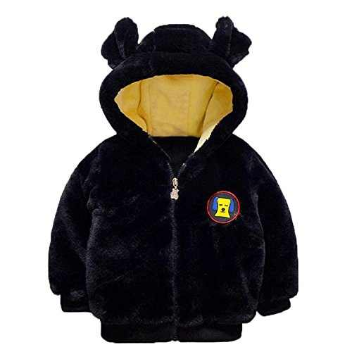 Plush Dog Coat (Kids Boy Winter 3D Dog Pattern Plush Coat Thicker Hooded Long Sleeve Children Coats Casual Outerwear Black 4T)