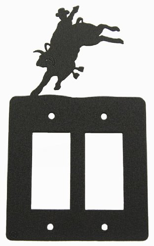 Innovative Fabricators, Inc. Bull Rider Double GFI Rocker Light Switch Plate Cover by Innovative Fabricators, Inc.