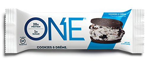 ONE Protein Bar, Cookies & Crème, 20g Protein, 1g Sugar, 12-Pack (Bar Creme Cookies Protein)