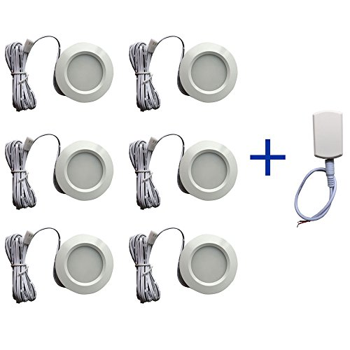 Price comparison product image 12v-LEDlight Power-saving Recessed Mount White Ceiling Light Fixture - Indoor Porch Hallway Kitchen Entryway Garage Basement LED Lighting, 3w, Soft Warm White, Pack of 6 with Block & Bonus