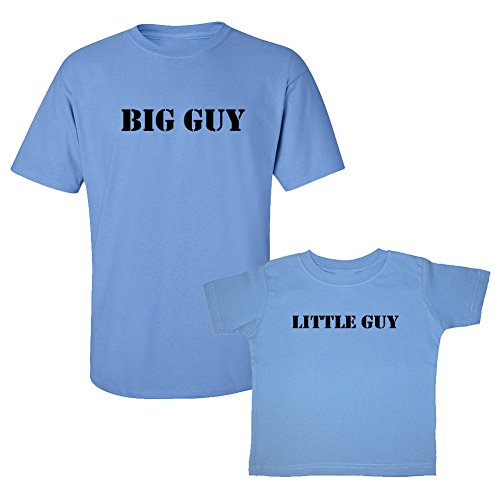 We Match! Big Guy & Little Guy Adult & Baby/Kids Two T-Shirts Set (2T Child, Adult Large, Carolina Blue)