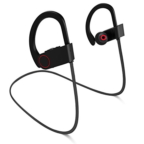 Price comparison product image Bluetooth Headphones,  Wireless Sports Earphones Waterproof HD Stereo 100% Sweatproof Earbuds for Workout 8 Hour Battery Noise Cancelling CVC 6.0 Headsets and Soft Security Hooks by FASEED