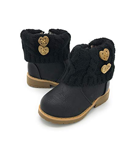 Blue Berry EASY21 Girls Fashion Cute Toddler/Infant Winter Snow Boots 05BLACK,5