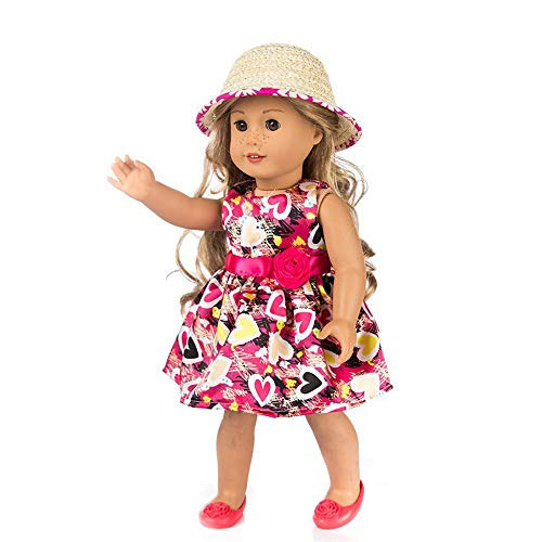 Denzar Doll Clothes and Hat -Doll Clothes for 18 inch Doll- Doll Accessories,Baby Alive Clothes Dress, Preemie Baby Girl Clothes (Hot -