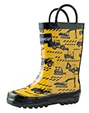 OAKI Kids Rubber Rain Boots with Easy-On Handles, Construction Vehicles, 9T US Toddler