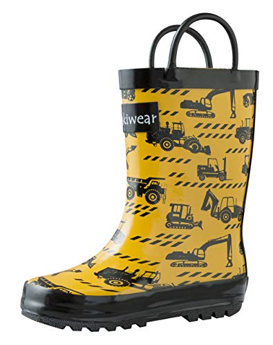 OAKI Kids Rubber Rain Boots with Easy-On Handles, Construction Vehicles, 7T US Toddler -