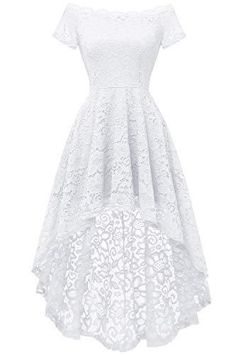 Dressystar 0042 Lace Off Shoulder Hi-Lo Short Sleeve Formal Cocktail Dress White S