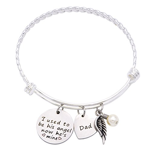 Used To Be His Angel Now He's Mine Necklace Daddy , In Memory Of Loved One Dad (Angel-Bracelet) ()