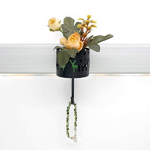 wuliLINL Cast Iron Vintage Double Wall Hook | Decorative Wall Mounted Coat Hanger | Flower Basket Storage Rack