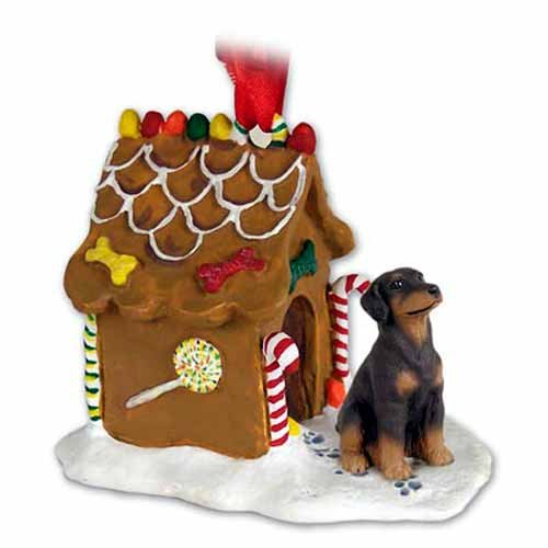 (Doberman Pinscher Gingerbread House Christmas Ornament Red Uncropped - DELIGHTFUL!)