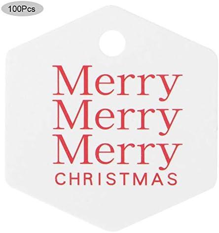 KEYREN 100 stücke Geschenkanhänger Frohe Weihnachten Baumdekoration Tag Karte Ornament Weihnachten Anhänger Home(Weißes Hexagon1)
