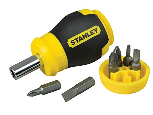 Stanley 0-66-357 Bit-Screwdriver with 6 Bits Slotted/PH, Bla