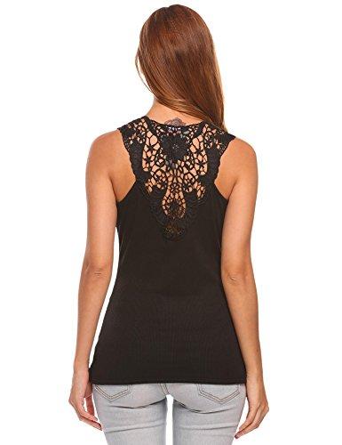 Zeagoo Women's Crochet Hollow Out Lace Back Tank Top Clubwear Black - Cami Lace Racerback