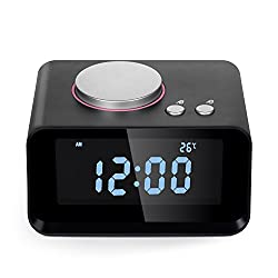 Timorn Alarm Clock Digital FM Radio AUX Speaker Indoor Thermometer Charging Station Phone Charger with Dual Port USB for Cellphone and Tablets (Black)