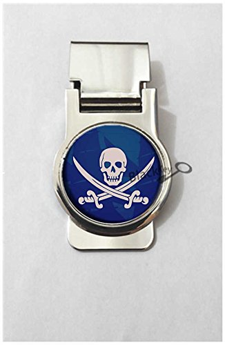 BlackKey Pirate Skull Crossed Swords Pattern Metal Clip for Receipt, Money, Business Card & Credit Card, Style 2 -95 (Paper Pirates Clip Holder)