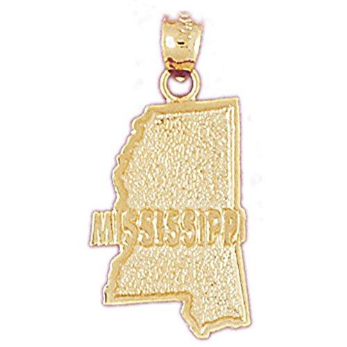 Jewels Obsession Mississippi Pendant | 14K Yellow Gold Mississippi Pendant - 28 mm