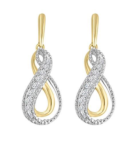 1/3ct Round Diamond 10k TT Gold Channel Set Infinity Milgrain Dangle Earrings - Milgrain Dangle