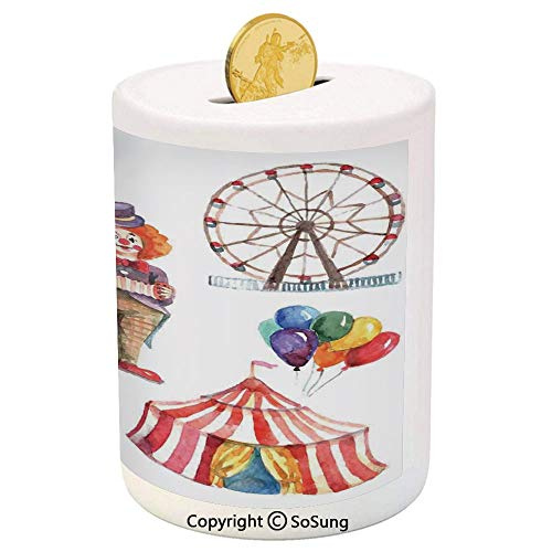 SoSung Circus Decor Ceramic Piggy Bank,Circus Elements with Clown Elephant Balloons and Icecream Cart Watercolor Illustration Art 3D Printed Ceramic Coin Bank Money Box for Kids & Adults,Multi