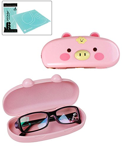 JAVOedge Hard Shell Cute Cartoon Pig Face Eyeglass - For Cute Glasses Girls