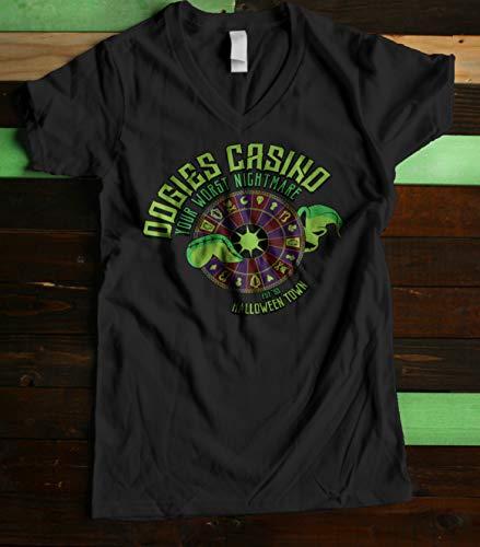 Halloween Town Casino Women's Fitted V Neck Shirt]()