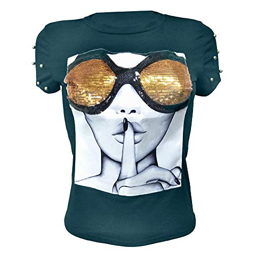 (PESION Womens Short Sleeve T-Shirt Sequined Tops O-Neck Funny Graphic Tees Blouse, Green Small)