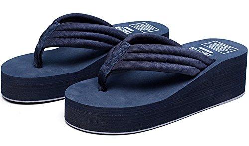 Qzunique Kvinna Sommar Mode Kreativa Hög Klack Flip Flops Blue