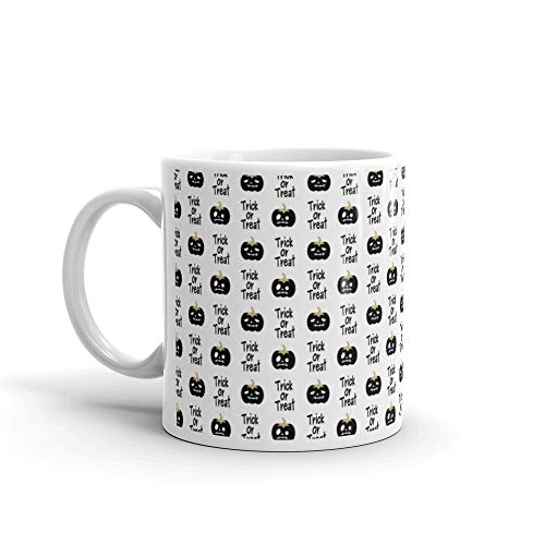 Cute Black White And Gold Halloween Seamless Pattern Background With Pumpkins Trick Or Treat Phrase Stoc Tea Mug 11 Oz -