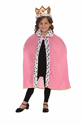 Winner Costume Halloween Pageant (Child Pink Queen Cape And Crown Set Kit Costume Princess Pageant Winner Fun)