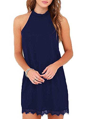 Fantaist Women's Casual Summer Sundress Sleeveless Halter Mini Short Tunic Dress (XL, FT610-Navy Blue)