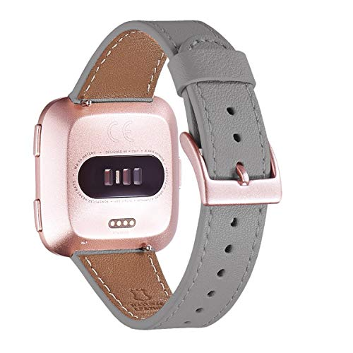 WFEAGL for Fitbit Versa Band, Top Grain Leather Band Replacement Strap for Fitbit Versa Fitness Smart Watch (Gray Band+rRoseGold Buckle)