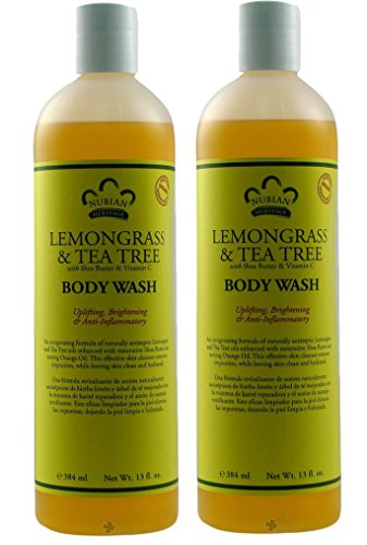 Nubian Heritage Lemongrass and Tea Tree Body Wash (Pack of 2) With Orange Peel, Shea Butter, Aloe Vera, Henna, Margarita, Basil, and Turmeric, For Dry Skin and All Skin Types, 13 fl. oz. Each -