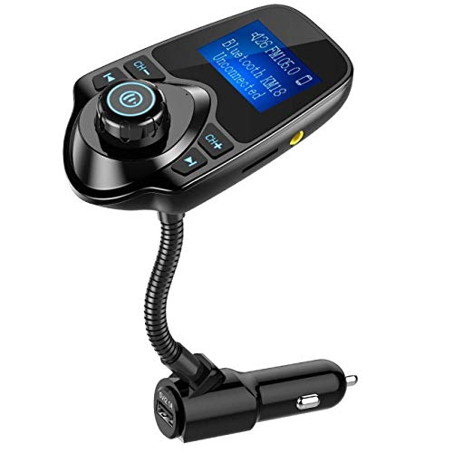 Nulaxy Bluetooth Car FM Transmitter Audio Adapter Receiver Wireless Hands Free Car Kit W 1.44 Inch Display – KM18 Black