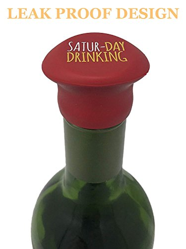 7 Wine Stopper Set + Gift Box - Reusable, Leak Proof, Air Tight Silicone Bottle Sealers - 7 Multicolored Wine Caps with a Funny Saying for Each Day Of the Week - by Lavley by Lavley (Image #1)