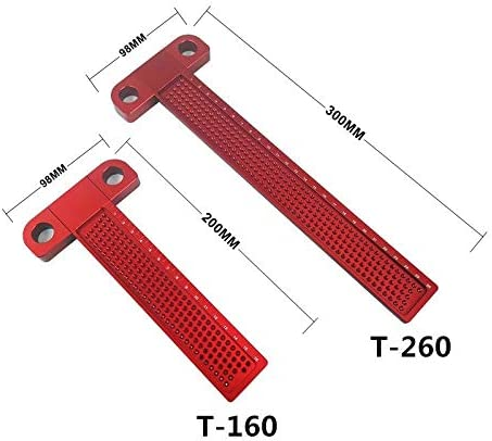 Measuring tools Measuring Tool Woodworking T-type Scribe Mark Measurement Tool Aluminum Alloy Precision Cross-calibration Ruler (Color : T260) T260