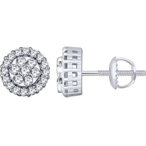1/2 Ct Diamond Flower Earrings - 8
