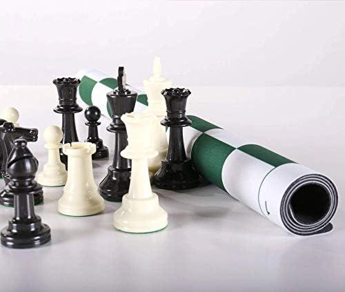 [해외]Chess House Triple Weighted Club Chess Set with USA Made Flex Pad Rollup Folding Board 3 34 inch King Extra Queens / Chess House Triple Weighted Club Chess Set with USA Made Flex Pad Rollup Folding Board, 3 34 inch King, Extra Quee...