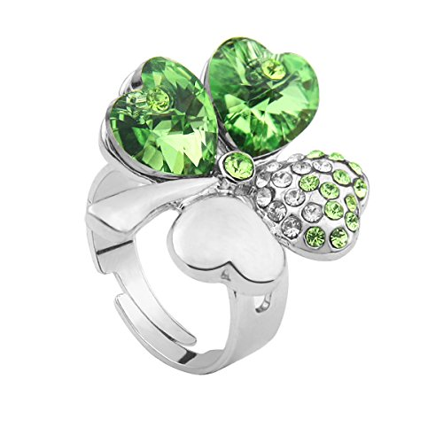 Peridot Swarovski Crystal Ring (Le Premium Four Leaf Clover Ring Heart Shaped SWAROVSKI Peridot Green Crystals (Adjustable ))