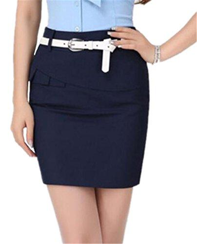 Femelle ElGant Taille Aoliait Jupe Affaires Chic t Grande en Femme Court Amincissante Dark Skirt Jupe Jupe Blue Jupe xwFSxgv6