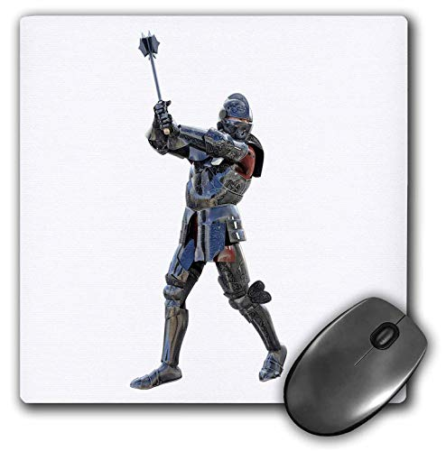 3dRose Boehm Graphics Warrior - Armored Knight Swinging His Mace Upwards - Mousepad (mp_253243_1)