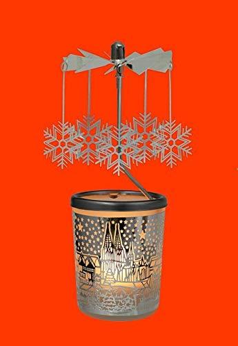 Hellmann GIOSTRINA karusell Bicchiere Vetro Fiocco Neve Paese Argento