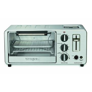 Waring WTO150 4-Slice Toaster Oven with Built-In 2-Slice Toaster (Renewed)