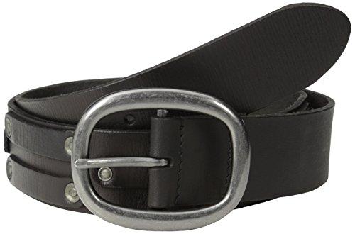John Varvatos Men's 38mm Leather Belt with Harness Buckle and Stud, Black, 36 (Leather Harness Buckle Belt)