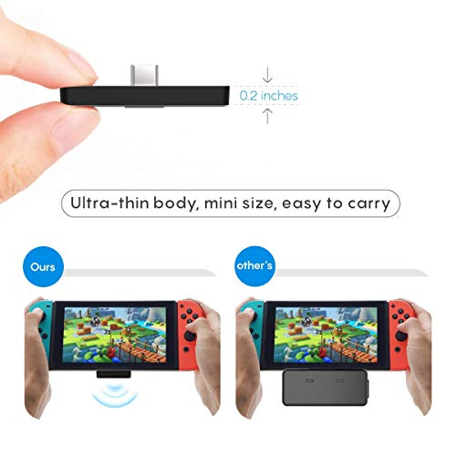 Ldex Nintendo Switch Bluetooth Adapter Audio Transmitter, Ultra thin Mini Size, USB Type C Connector with aptX Low Latency Technology, Supports Dual Paring, Compatible with Switch, PS4, PC and TV