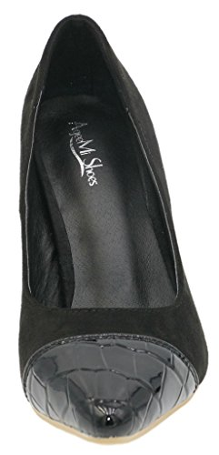AgeeMi Shoes Damen Slip On Spitz Zehe Nubuk Gemischte Farbe Stilettos Pumps Schwarz