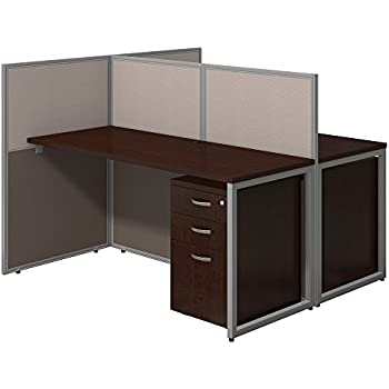 Easy Office 60W Two Person Straight Desk Open Office with Mobile File Cabinets in Mocha Cherry
