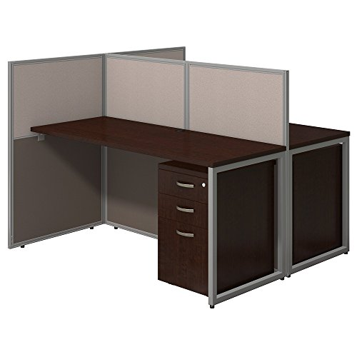 Easy Office 60W Two Person Straight Desk Open Office with Mobile File Cabinets in Mocha Cherry by Bush Business Furniture