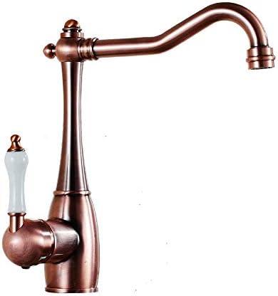HXC-HXC バスルームのシンクは、スロット付き浴室の洗面台のシンクホットコールドタップミキサー流域の真鍮シンクミキサータップ非震とう浴室ヨーロッパブロンズキッチン蛇口回転シンクシンクホットとコールド蛇口を赤タップ 蛇口